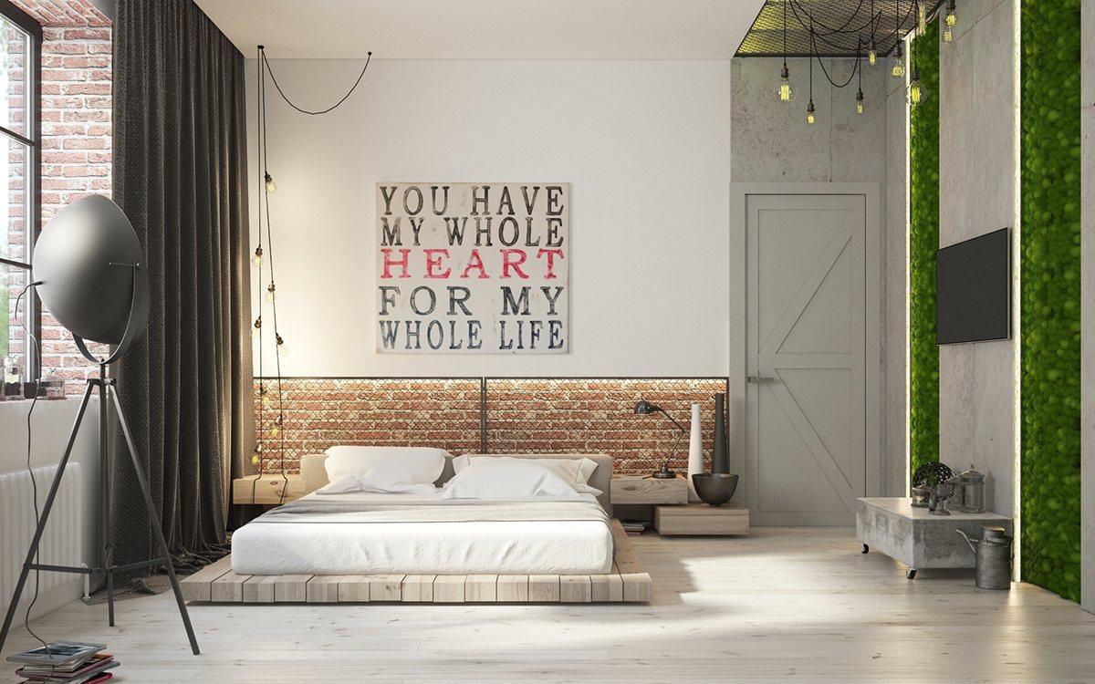 phòng ngủ theo phong cách công nghiệp